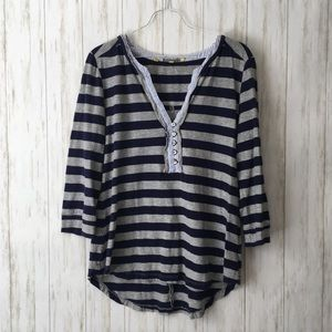 little yellow button Black Gray Striped Henley Top
